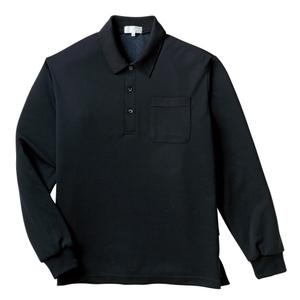PHSポケット付きカラフル介護用無地長袖ポロシャツ(E100%)[ブラック]