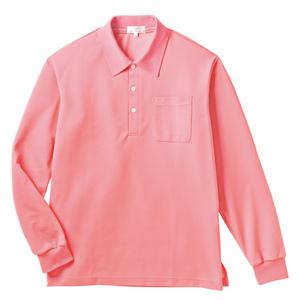 PHSポケット付きカラフル介護用無地長袖ポロシャツ(E100%)[ピーチ]