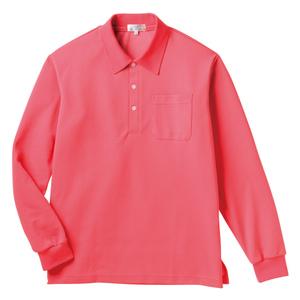 PHSポケット付きカラフル介護用無地長袖ポロシャツ(E100%)[ピンク]