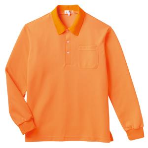 PHSポケット付きカラフル介護用無地長袖ポロシャツ(E100%)[オレンジ]