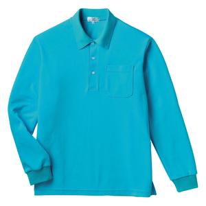 PHSポケット付きカラフル介護用無地長袖ポロシャツ(E100%)[ブルー]