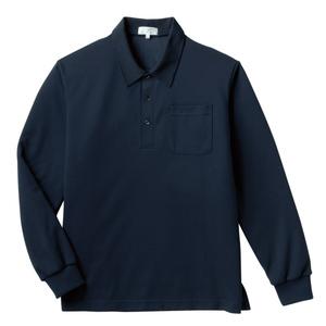 PHSポケット付きカラフル介護用無地長袖ポロシャツ(E100%)[ネイビー]
