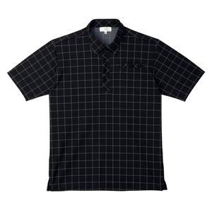 CR170ウインドペンチェック介護用ボタンダウンニットシャツ(E100)[ブラック]