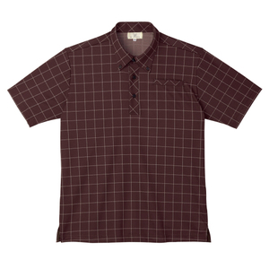 CR170ウインドペンチェック介護用ボタンダウンニットシャツ(E100)[ブラウン]