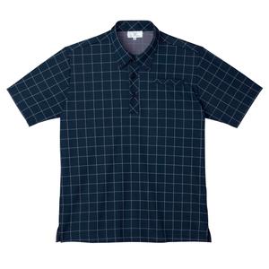 CR170ウインドペンチェック介護用ボタンダウンニットシャツ(E100)[ネイビー]