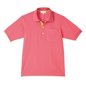 CR172ポップな切替カラー介護用かわいい男女兼用鹿の子ポロシャツ(E100)[ピンク×ライム]