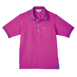 CR172ポップな切替カラー介護用かわいい男女兼用鹿の子ポロシャツ(E100)[ラベンダーピンク×ブルー]