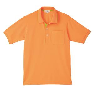 CR172ポップな切替カラー介護用かわいい男女兼用鹿の子ポロシャツ(E100)[オレンジ×ライム]