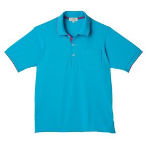 CR172ポップな切替カラー介護用かわいい男女兼用鹿の子ポロシャツ(E100)[ブルー×ラベンダーピンク]