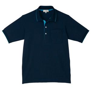 CR172ポップな切替カラー介護用かわいい男女兼用鹿の子ポロシャツ(E100)[ネイビー×ブルー]