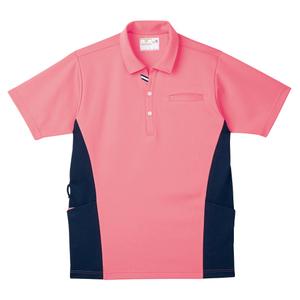 CR173脇切替で細身効果大きめポケットいっぱい防透ニットシャツ(E100)[カメリアピンク]