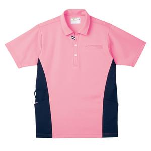 CR173脇切替で細身効果大きめポケットいっぱい防透ニットシャツ(E100)[ピーチ]