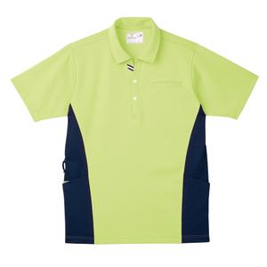 CR173脇切替で細身効果大きめポケットいっぱい防透ニットシャツ(E100)[ライム]