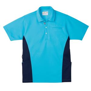 CR173脇切替で細身効果大きめポケットいっぱい防透ニットシャツ(E100)[アクアブルー]