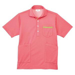 CR175ベタつかず肌にも優しいドット柄ニットシャツ男女兼用(E90Cu10)[ピンク]