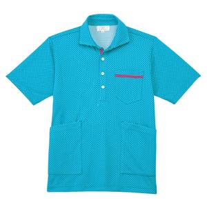 CR175ベタつかず肌にも優しいドット柄ニットシャツ男女兼用(E90Cu10)[ブルー]