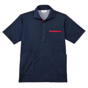 CR175ベタつかず肌にも優しいドット柄ニットシャツ男女兼用(E90Cu10)[ネイビー]