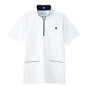 CR185腰ポケット付パステルカラーケアワークシャツ男女兼用(E100)[ホワイト]