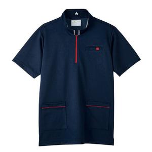 CR185腰ポケット付パステルカラーケアワークシャツ男女兼用(E100)[ネイビー]