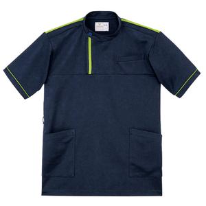 CR197ベタつきにくいケーシー風ストレッチケアワークシャツ男女兼用(E100)[ネイビー×ライム]