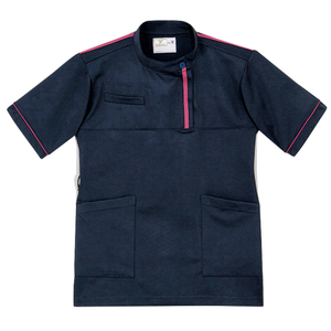 CR198レディスベタつきにくいケーシー風ストレッチケアワークシャツ(E100)[ネイビー×ピンク]