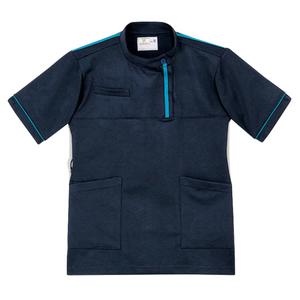 CR198レディスベタつきにくいケーシー風ストレッチケアワークシャツ(E100)[ネイビー×ブルー]