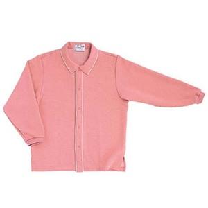 CR810ゆったりサイズ!肌にやさしい前開き衿付きシャツ男女兼用(E85C15)[ピンク]