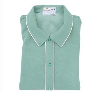 CR810ゆったりサイズ!肌にやさしい前開き衿付きシャツ男女兼用(E85C15)[エメラルドグリーン]