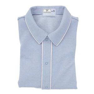 CR810ゆったりサイズ!肌にやさしい前開き衿付きシャツ男女兼用(E85C15)[インクブルー]