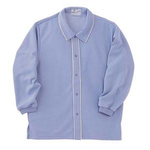 CR810ゆったりサイズ!肌にやさしい前開き衿付きシャツ男女兼用(E85C15)[ラベンダー]