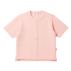 CR837夏用メッシュ素材ノーカラー前開き半袖シャツ高齢者用(E90C10)[オレンジピンク]