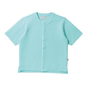 夏用メッシュ素材ノーカラー前開き半袖シャツ高齢者用(E90C10)[アイスミント]