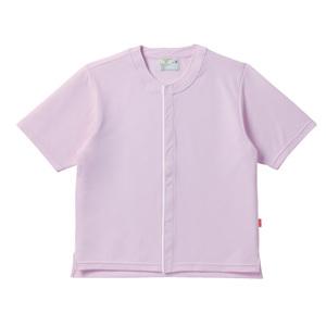 CR837夏用メッシュ素材ノーカラー前開き半袖シャツ高齢者用(E90C10)[ライラック]